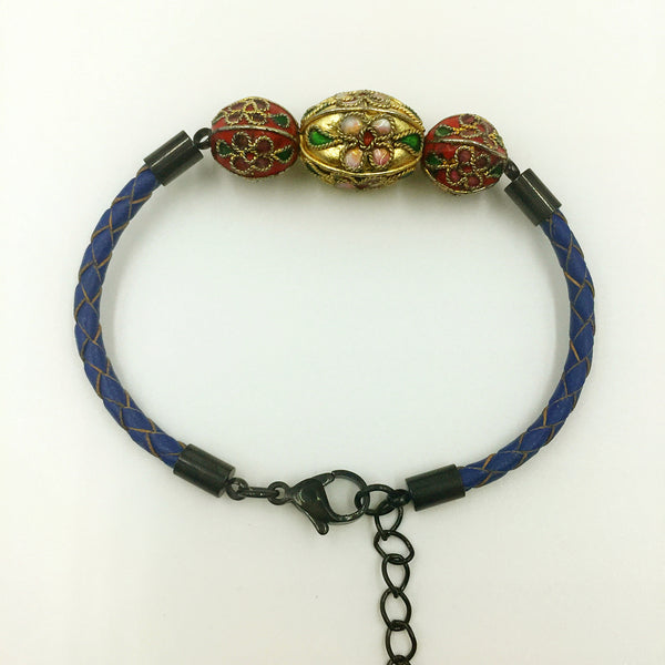 Triple Gold and Red Beads on Navy Blue Leather,  - MRNEIO LLC