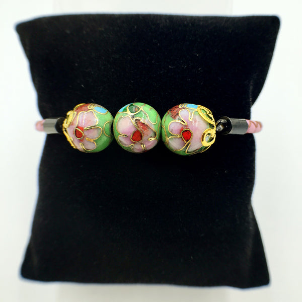 Triple Green Beads on Pink Leather,  - MRNEIO LLC