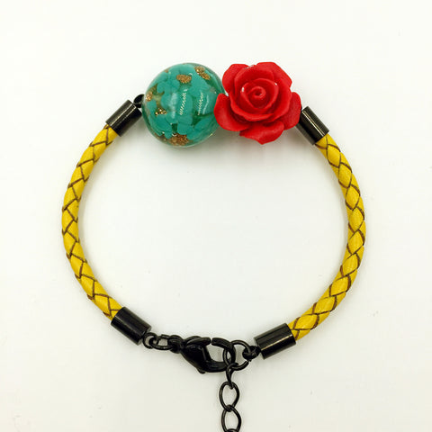 Flower Deco Green Bead on Lemon Leather,  - MRNEIO LLC