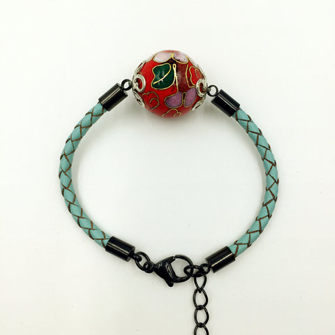 Single Red Bead on Turquoise Leather,  - MRNEIO LLC