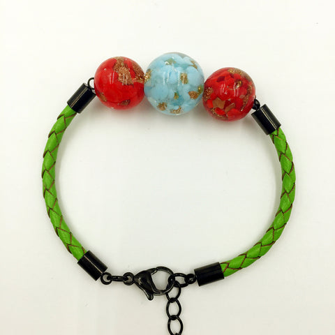 Triple Gold Leaf Turquoise and Red Beads on Green Leather,  - MRNEIO LLC