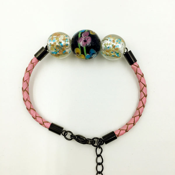 Triple Flower Black and Gold Leaf White Beads on Pink Leather,  - MRNEIO LLC