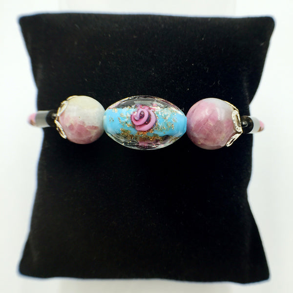 Triple Flower Turquoise and Gemstone Beads on Pink Leather