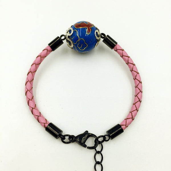 Single Medium Blue Bead on Pink Leather,  - MRNEIO LLC