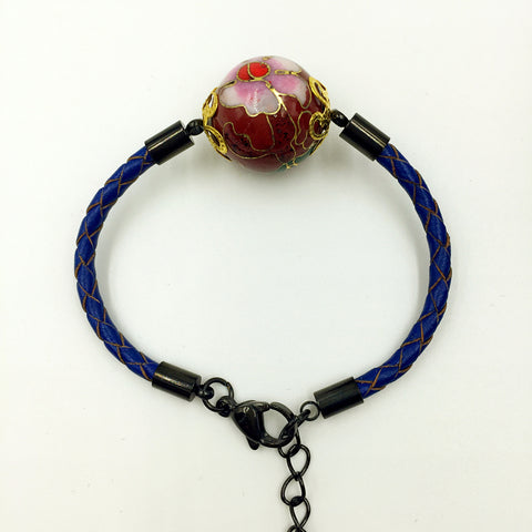 Single Scarlet Bead on Navy Blue Leather,  - MRNEIO LLC