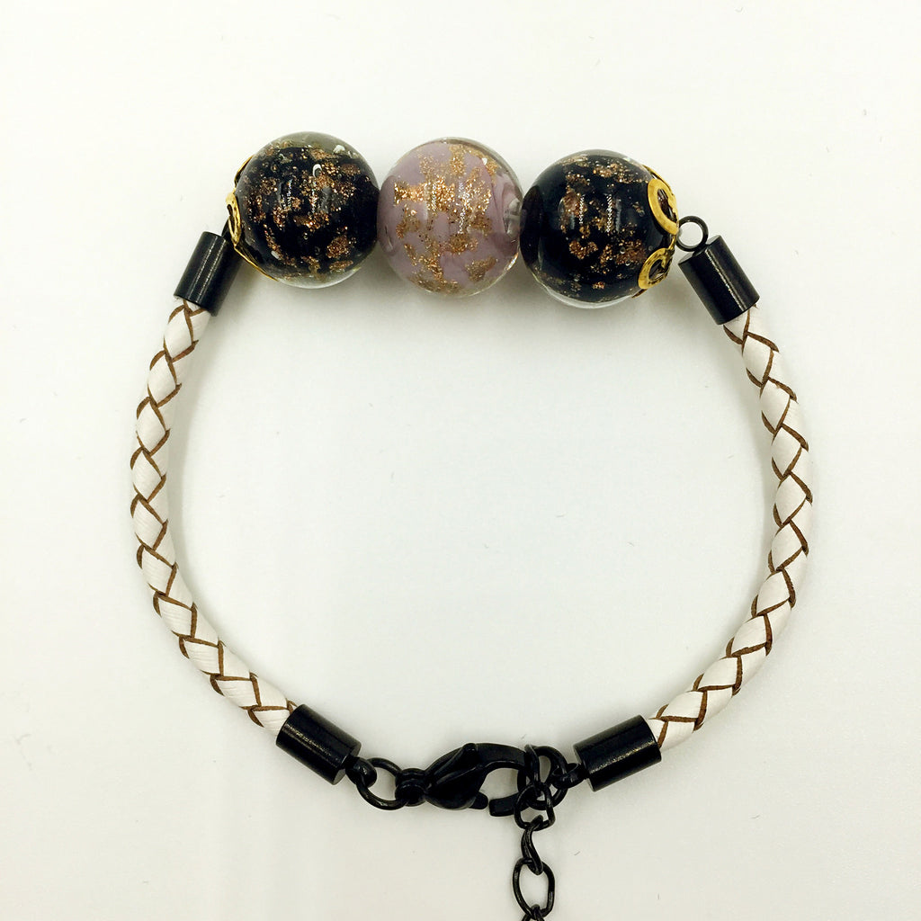 Triple Gold Leaf Purple and Black Beads on White Leather,  - MRNEIO LLC