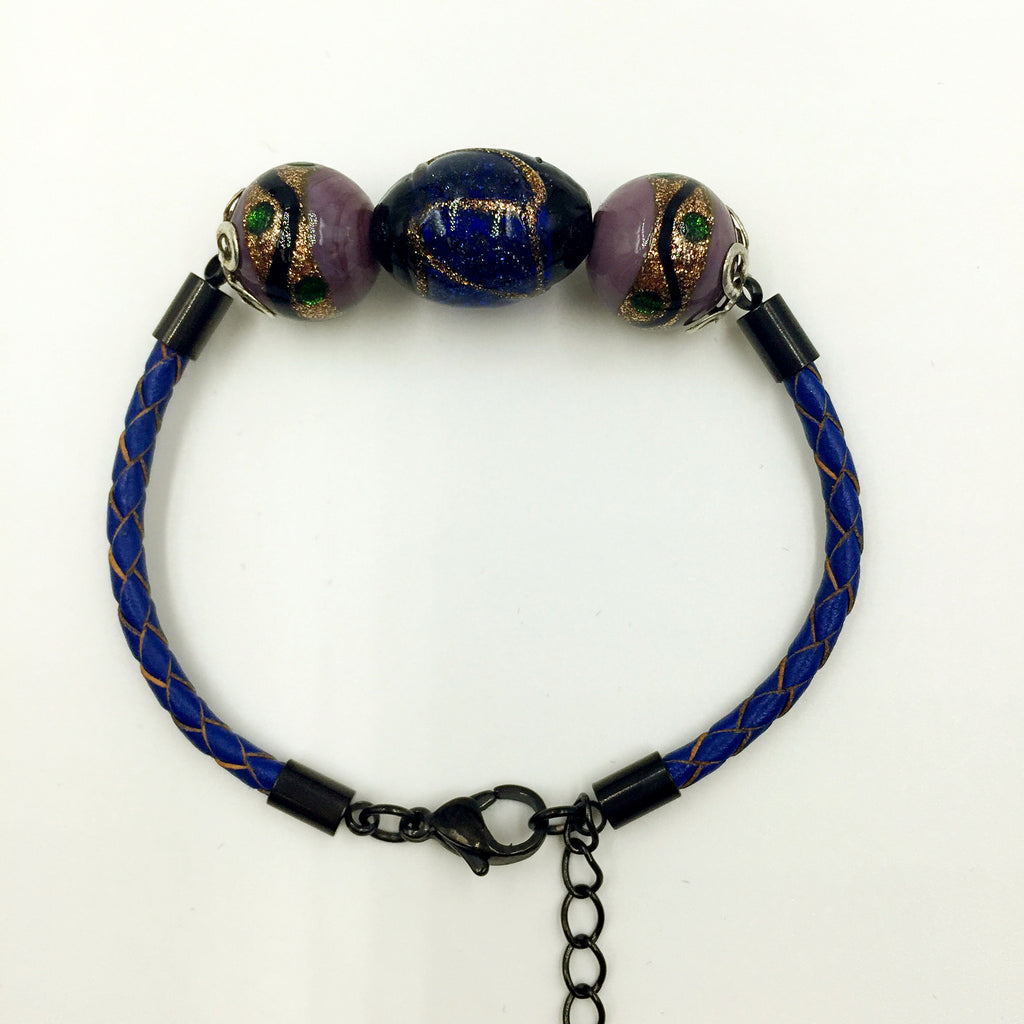 Triple Stellar Navy Blue and Purple Beads on Navy Blue Leather,  - MRNEIO LLC