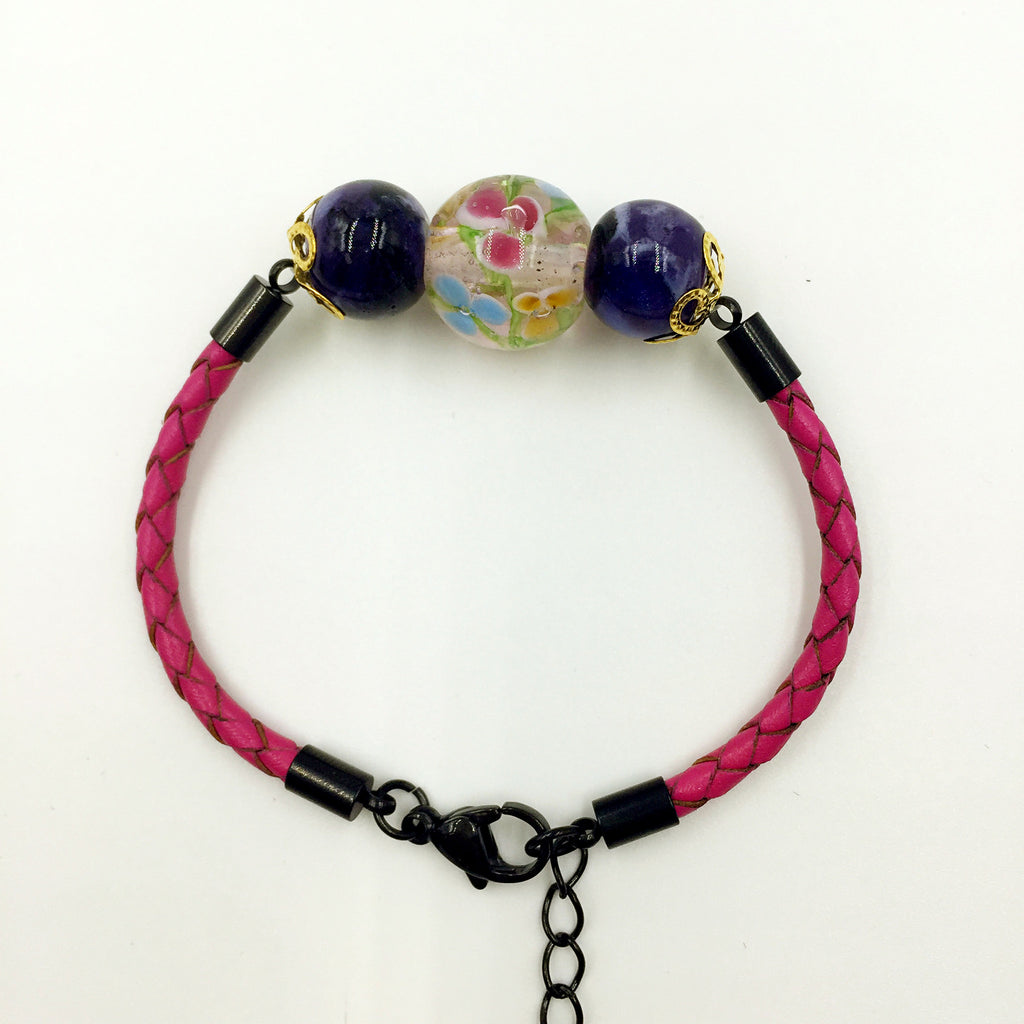 Triple Flower Pink and Ceramic Beads on Rose Red Leather,  - MRNEIO LLC