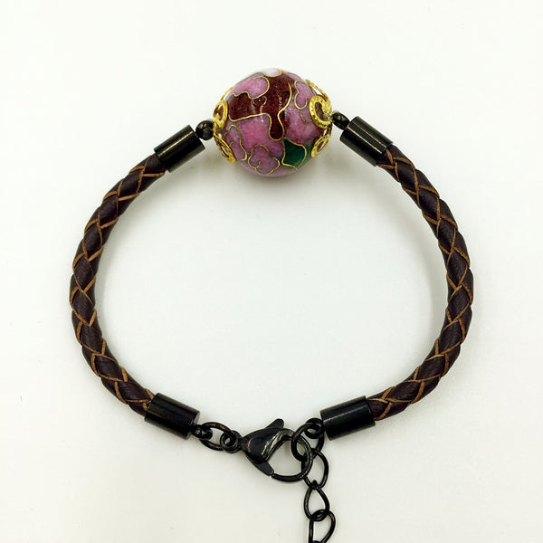 Single Lilac Bead on Brown Leather,  - MRNEIO LLC