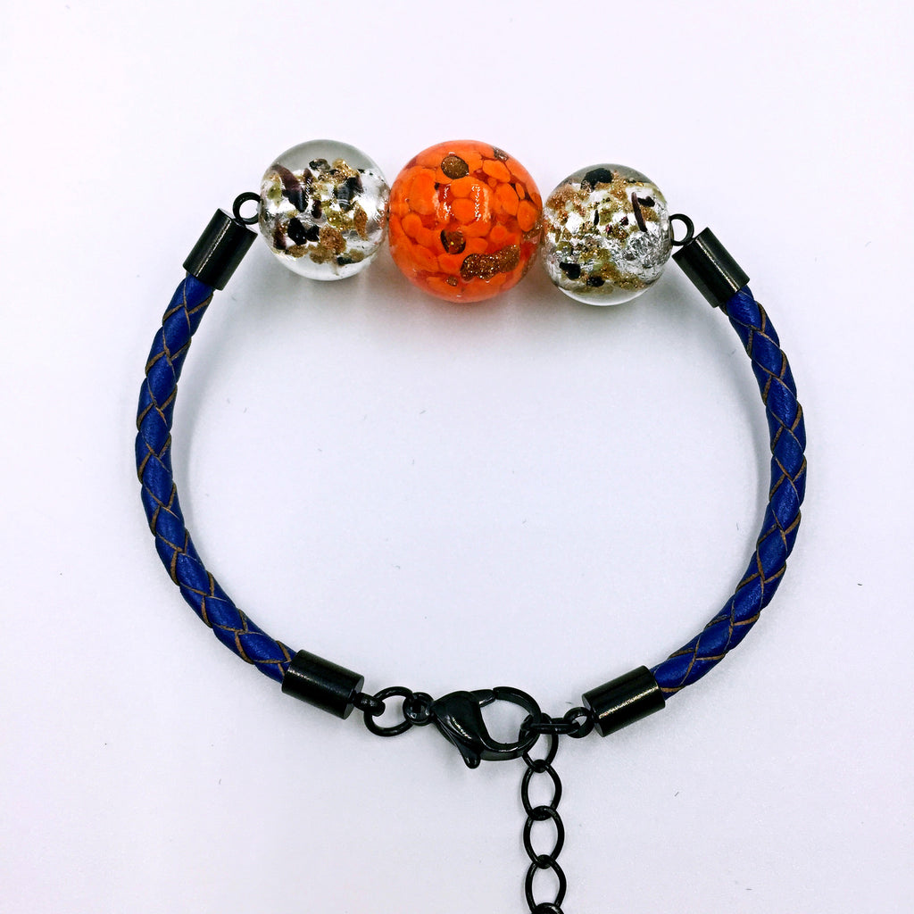 Triple Gold Leaf Orange and Black Beads on Navy Blue Leather,  - MRNEIO LLC