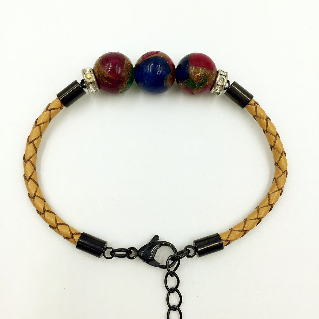 Faux Blue/Purple/Brown Gemstones on Beige Leather,  - MRNEIO LLC