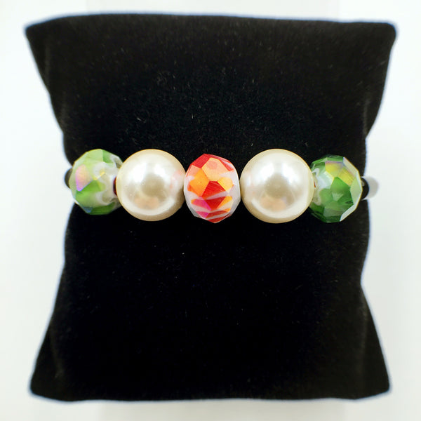 White Pearl Red and Green Beads on Red Leather,  - MRNEIO LLC