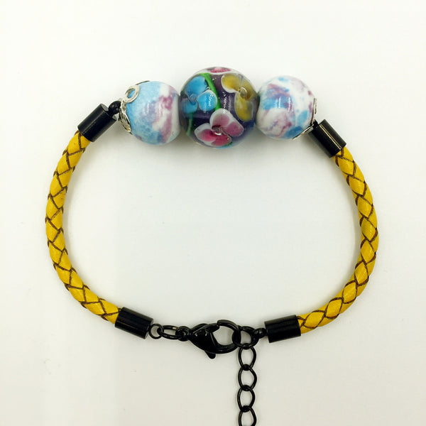 Triple Flower Purple and Ceramic Beads on Yellow Leather,  - MRNEIO LLC