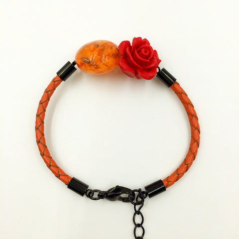 Flower Deco Orange Bead on Orange Leather,  - MRNEIO LLC