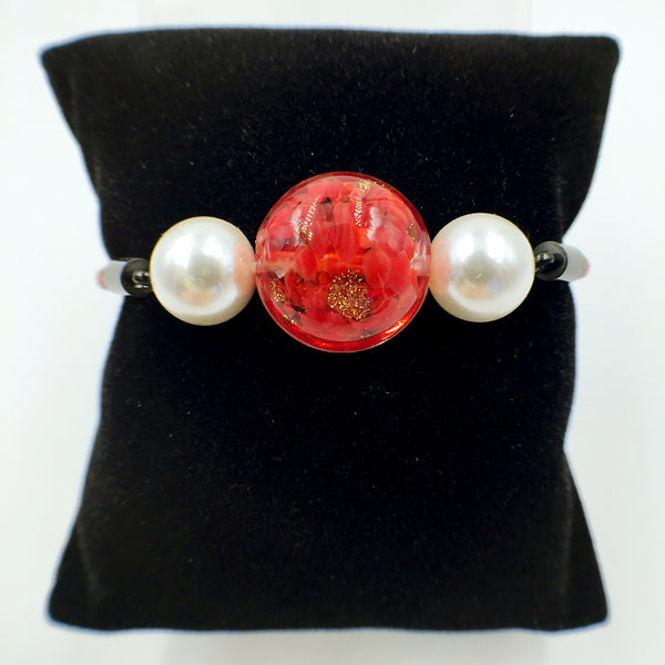 White Pearl Red Bead on Red Leather
