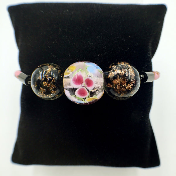 Triple Flower Pink and Gold Leaf Black Beads on Pink Leather,  - MRNEIO LLC
