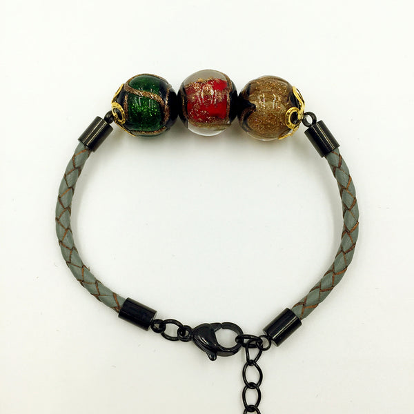 Triple Stellar Red, Green and Brown Beads on Grey Leather,  - MRNEIO LLC