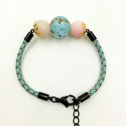 Pink Macaron Turquoise Bead on Turquoise Leather,  - MRNEIO LLC
