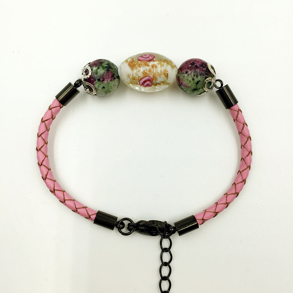 Triple Flower White and Gemstone Beads on Pink Leather,  - MRNEIO LLC