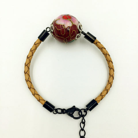 Single Scarlet Bead on Beige Leather,  - MRNEIO LLC