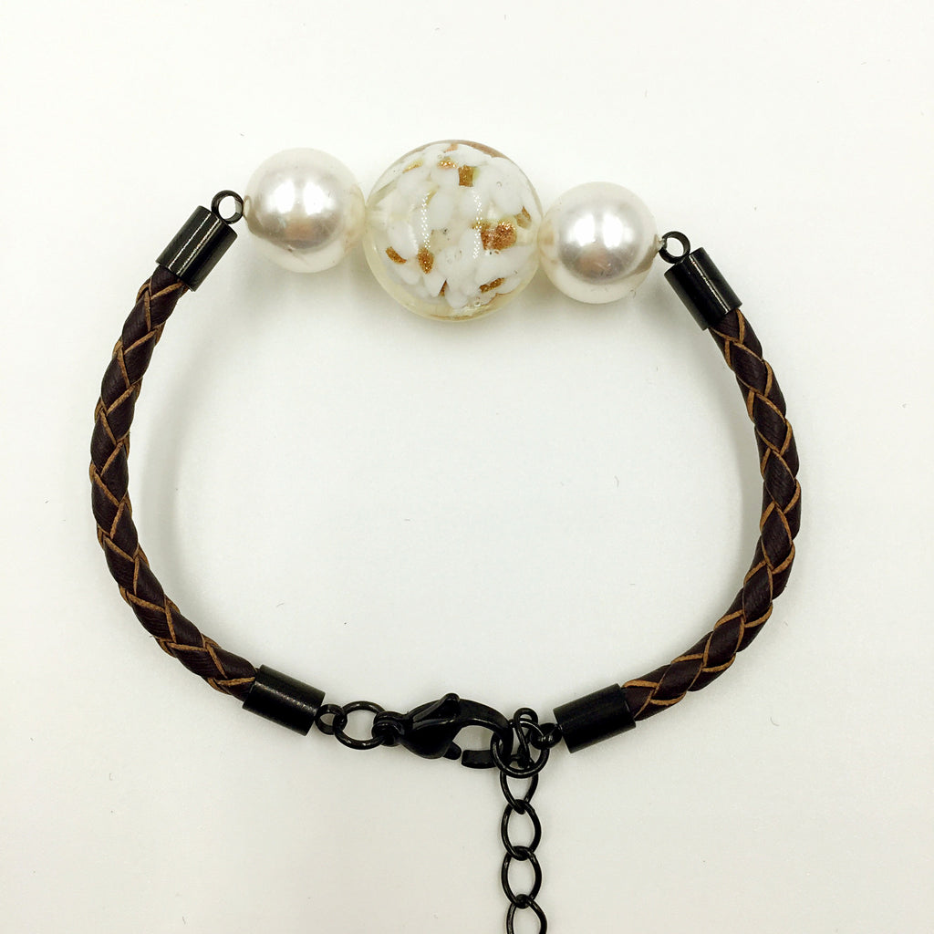 White Pearl White Bead on Brown Leather