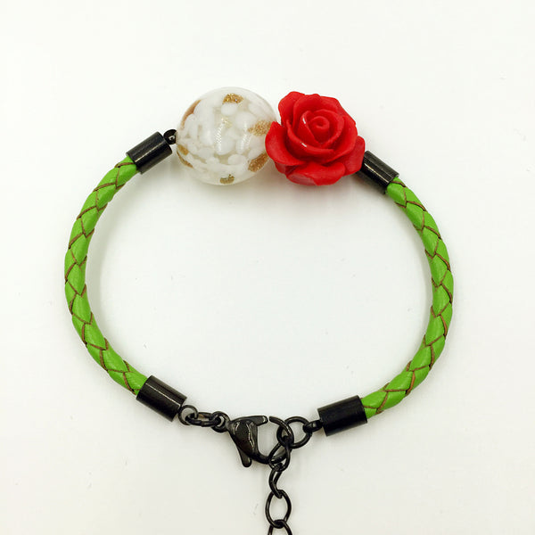 Flower Deco White Bead on Green Leather,  - MRNEIO LLC