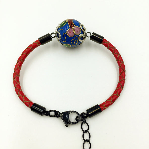 Single Medium Blue Bead on Red Leather,  - MRNEIO LLC