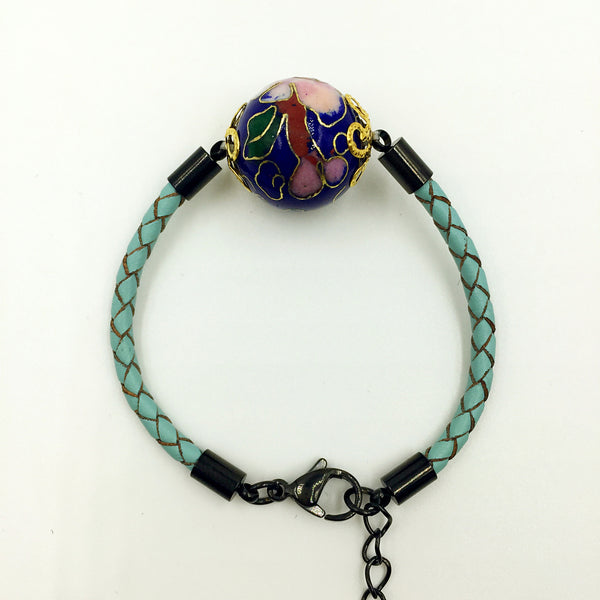 Single Navy Blue Bead on Turquoise Leather,  - MRNEIO LLC