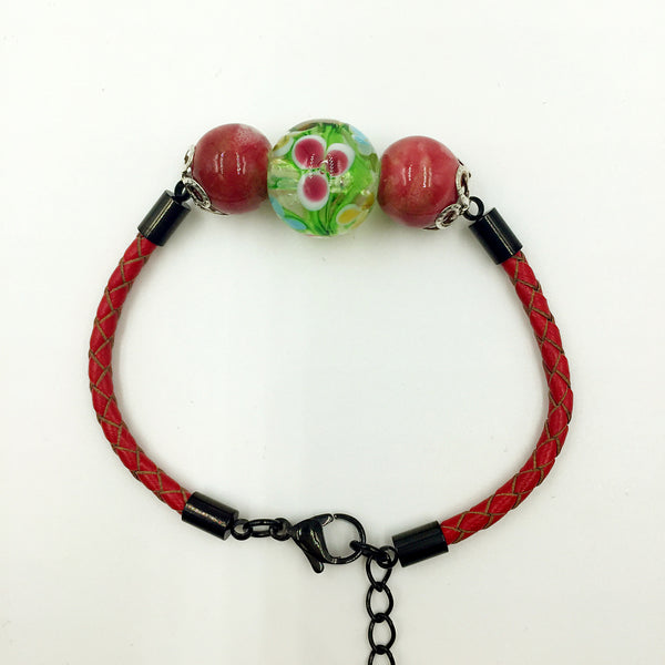 Triple Flower Green and Ceramic Beads on Red Leather,  - MRNEIO LLC