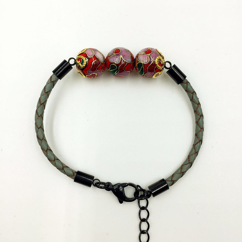 Triple Red Beads on Grey Leather,  - MRNEIO LLC