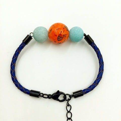 Turquoise Macaron Orange Bead on Navy Blue Leather