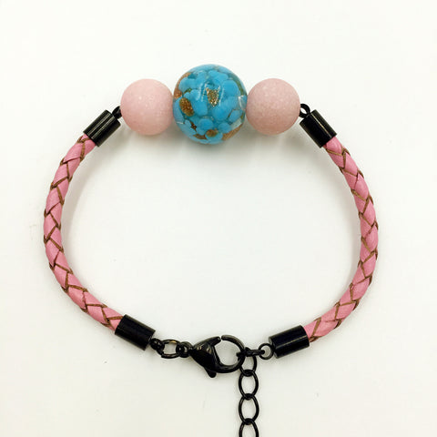 Pink Macaron Sky Blue Bead on Pink Leather