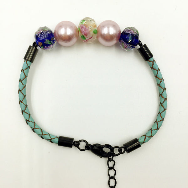 Pink Pearl White and Blue Beads on Turquoise Leather,  - MRNEIO LLC