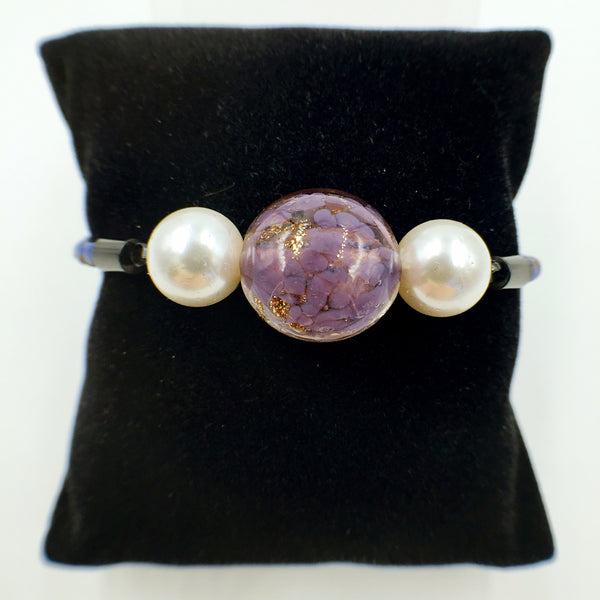 White Pearl Gold Leaf Purple Bead on Navy Blue Leather,  - MRNEIO LLC