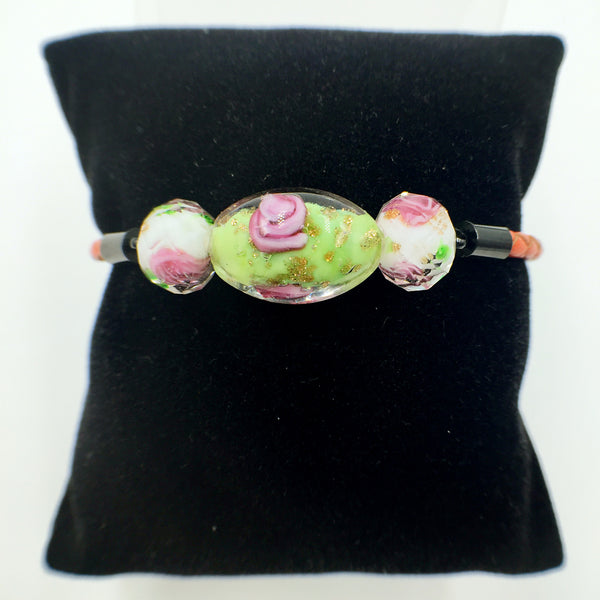 Triple Flower Green and White Beads on Orange Leather,  - MRNEIO LLC