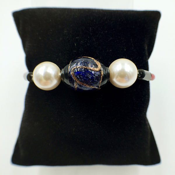 White Pearl Stellar Blue Bead on Red Leather,  - MRNEIO LLC