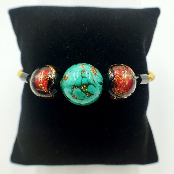 Triple Gold Leaf Green and Stellar Red Beads on Yellow Leather,  - MRNEIO LLC
