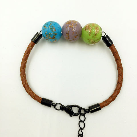 Triple Gold Leaf Green, Purple and Blue Beads on Yellow Brown Leather,  - MRNEIO LLC