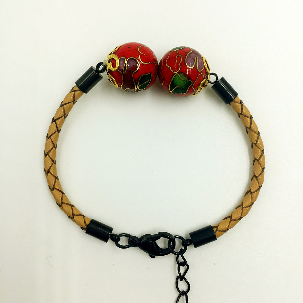 Twin Red Beads on Beige Leather,  - MRNEIO LLC