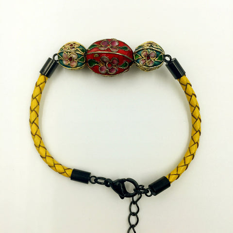 Triple Red and Sky Blue Beads on Lemon Leather,  - MRNEIO LLC