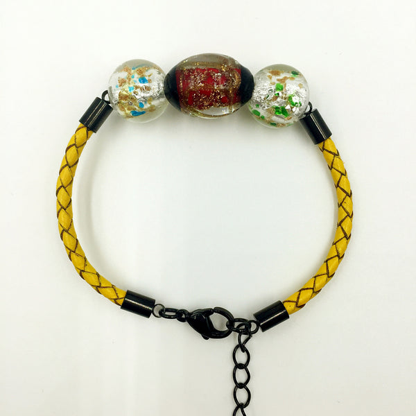 Triple Stellar Red and Gold Leaf White Beads on Yellow Leather,  - MRNEIO LLC