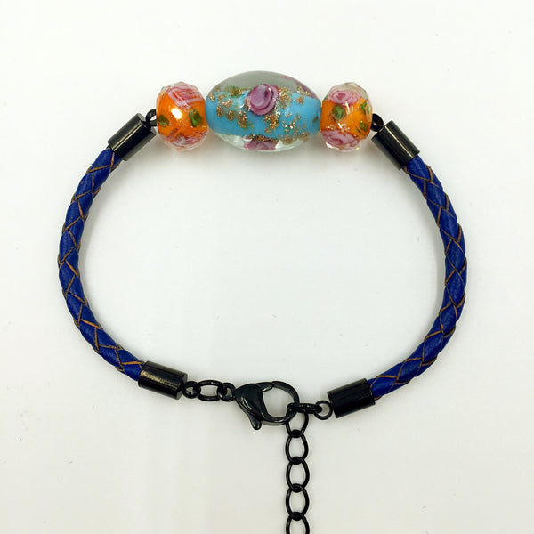 Triple Flower Turquoise and Orange Beads on Navy Blue Leather,  - MRNEIO LLC