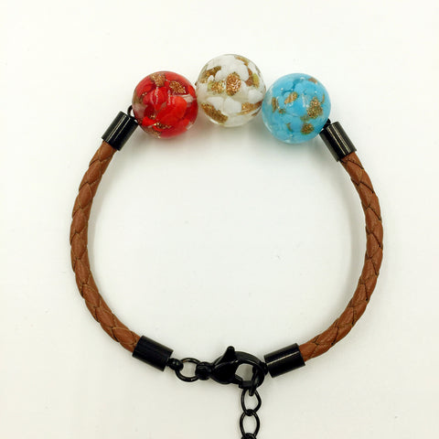 Triple Gold Leaf Red, White and Sky Blue Beads on Yellow Brown Leather,  - MRNEIO LLC