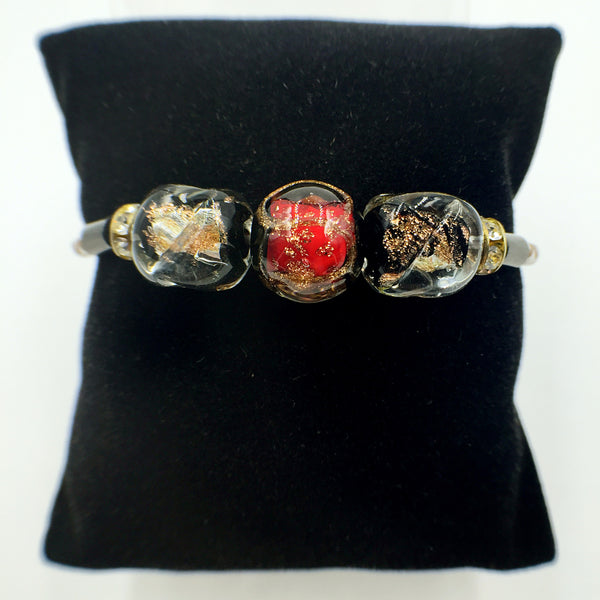 Triple Gold Leaf Red and Black Beads on White Leather,  - MRNEIO LLC