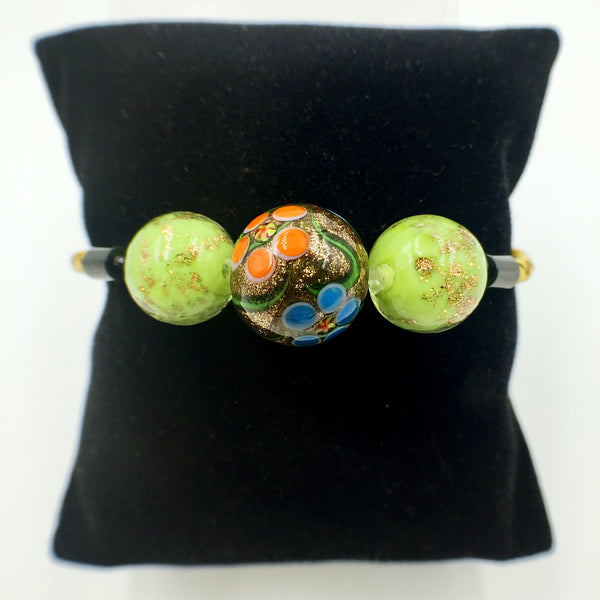 Triple Gold and Gold Leaf Green Beads on Yellow Leather,  - MRNEIO LLC