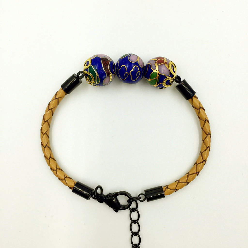 Triple Navy Blue Beads on Beige Leather,  - MRNEIO LLC