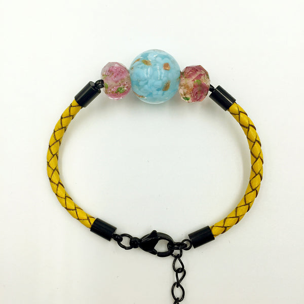 Triple Gold Leaf Light Blue and Flower Pink Beads on Yellow Leather,  - MRNEIO LLC