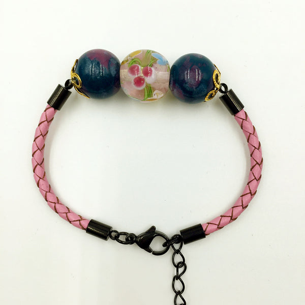 Triple Flower Pink and Ceramic Beads on Pink Leather,  - MRNEIO LLC