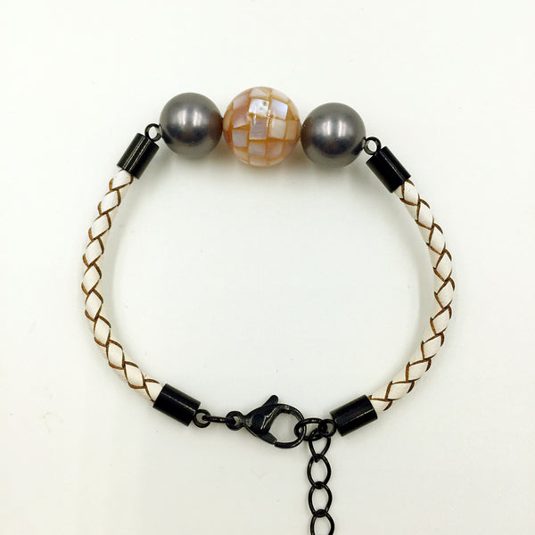 Black Pearl Flesh Pink Mother of Pearl Bead on White Leather,  - MRNEIO LLC