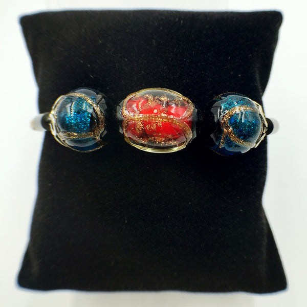 Triple Stellar Red and Blue Beads on Yellow Leather